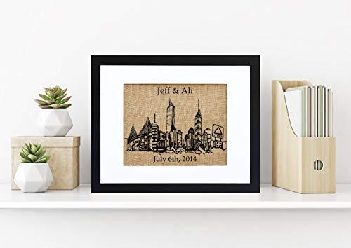 - Boston Skyline Monogram Burlap Wall Art