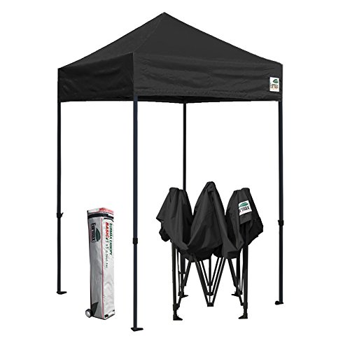 Eurmax 5×5 Ez Pop up Canopy Outdoor Heavy Duty Instant Tent Pop-up Canopy Shelter with Deluxe Wheeled Carry Bag Black