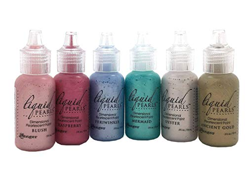 Paint Gold Pearl (Ranger Bundle of 6 Liquid Pearls Glue - 2017 Colors - Ancient Gold, Blush, Mermaid, Oyster, Periwinkle and Raspberry)