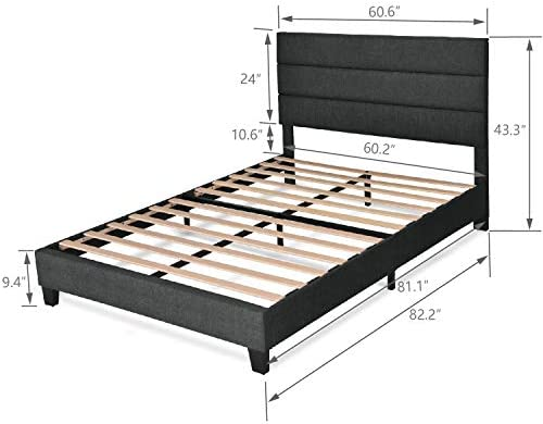 Allewie Queen Size Platform Bed Frame with Fabric Upholstered Headboard and Wooden Slats, Fully Upholstered Mattress Foundation / Strong Wooden Slats Support / Box Spring Optional / Easy Assembly