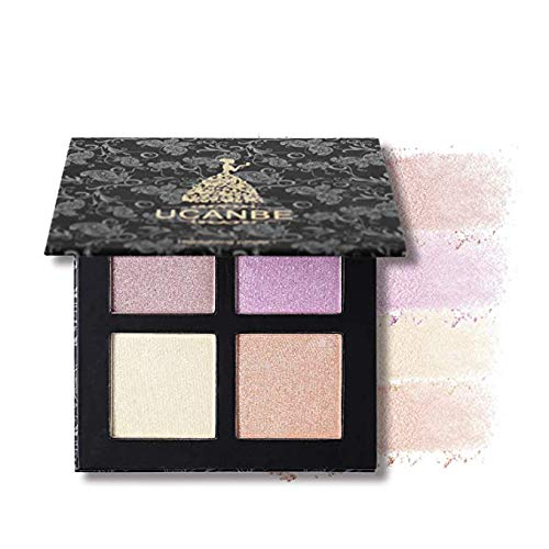 4 Color Highlighter Makeup Palette Illuminating Bronzers Contour Powder Kit (Square # 1)