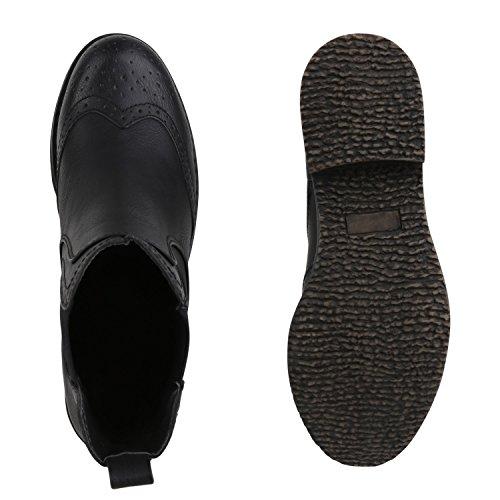 Leicht Gefütterte Damen Chelsea Boots Profilsohle Stiefeletten Flandell Schwarz Metallic