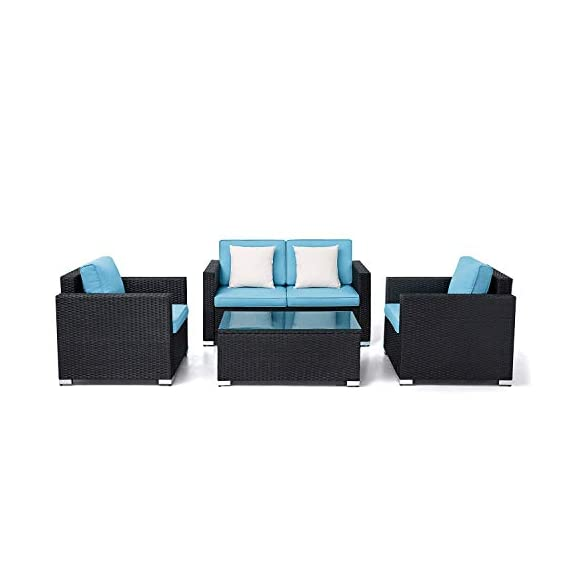 Oakmont Outdoor Patio Furniture 4-Piece Conversation Set All Weather Wicker with Sky Blue Cushion Black Coffee Table Backyard, Garden - 【WHAT YOU WILL GET】This 4-piece patio furniture set comes with 2 boxes, includes 2× single chairs, 1×loveseat, 1×table with tempered glass, 8×sky blue cushions, 2×pillows, 1× instruction, and all necessary hardware (assembly required). 【MATERIAL】The black wicker sectional sofa constructed from steel frame and PE rattan wicker. Use durable Olefin outdoor fabric, they have excellent weather resistance and corrosion resistance. 【FEATURES】Removable cushion covers with zippers are easy to rinse. Aluminum feet make the patio sofa more stable. - patio-furniture, patio, conversation-sets - 419UOFmaC7L. SS570  -