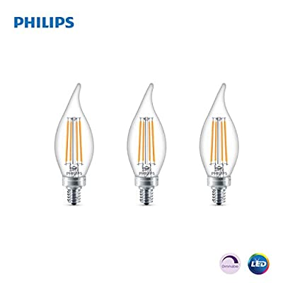 Philips LED Classic Glass Dimmable BA11 Bent Tip Light Bulb: 300-Luman, 5000-Kelvin, 4.5-Watt (40-Watt Equivalent), E12 Base, Clear, Daylight, 3-Pack