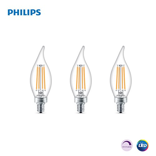 Philips LED Classic Glass Dimmable BA11 Bent Tip Light Bulb: 500-Luman, 5000-Kelvin, 5.5-Watt (60-Watt Equivalent), E12 Base, Clear, Daylight, 3-Pack