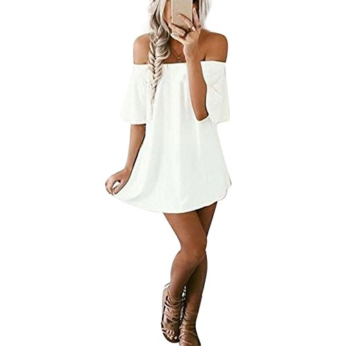 Clearance! ZOMUSA Women Pullover Off Shoulder Casual T-Shirt Dress (M, White)