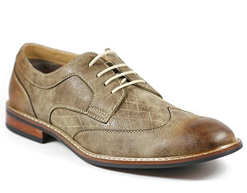 Ferro Aldo M-19266 Brown Hombres Lace Up Wing Tip Dress Zapatos Clásicos (7.5)