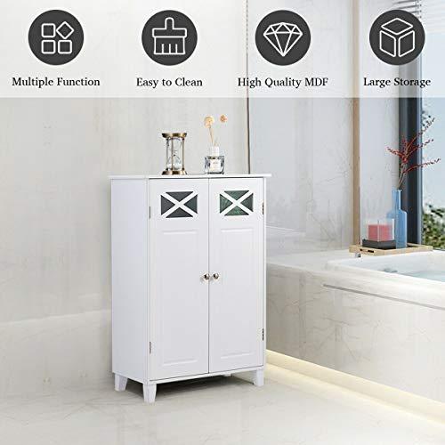 Tangkula Bathroom Floor Cabinet, Double Doors Wooden Free Standing Bathroom Cabinet, Adjustable Shelf Floor Storage Organizer (White) by Tangkula (Image #4)