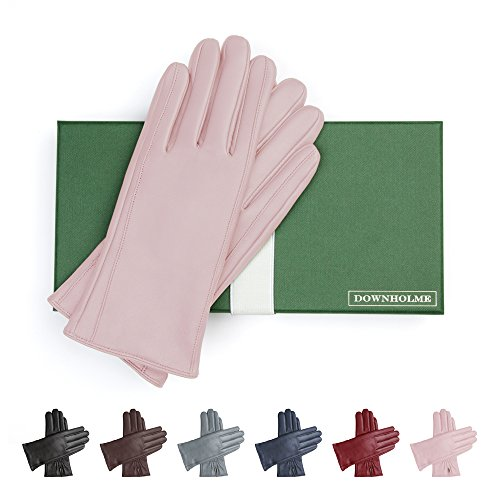 Glove Pink Womens (Downholme Classic Leather Cashmere Lined Gloves for Women (Pink, M))