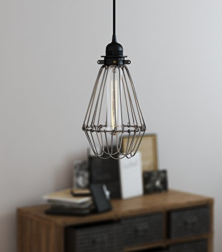 Bronze Finish Style (Industrial Vintage Style Hanging Pendant Light Fixture Thick Metal Wire Cage , Lamp Guard, Adjustable Cage Openings to Different Styles , Bronze Finish)