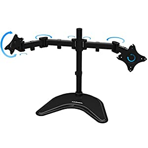 "KRIËGER KL2327B Dual 2 Monitor Desk Mount Full Motion Articulating Arm for two LCD, OLED, 4K Computer Displays, 17, 19, 20, 22, 23, 24, 27"", Fits VESA"
