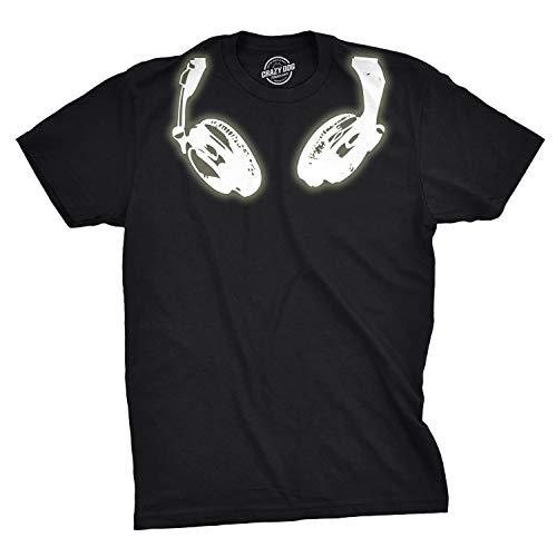 Mens Glow in The Dark Headphones T Shirt Cool Luminescent Graphic Print Tee