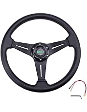 """RASTP Universal Racing Steering Wheel 13.8""""/350mm 6 Bolts Grip Vinyl Leather & Aluminum with Horn Button for Car -Black"""