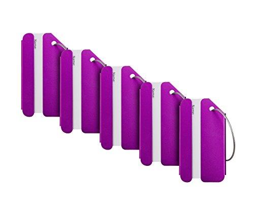 Travelambo Luggage Tags & Bag Tags Stainless Steel Aluminum Various Colors (purple 5 pcs set)