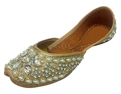 Step n Style Flat Ballet Beaded Ballerina Khussa Jutti Flat Mojari Flat Flip-Flops DD917