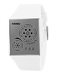 Mastop Unisex Watches Digital Sport Binary Led Watch Band 50M Waterproof Wristwatch (White