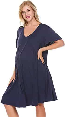 b9b12248e13bb Skylin Nursing Nightgown Motherhood Maternity Sleepwear Loose Women Feeding  Nighties for Hospital S-XXL