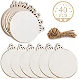 Wooden Christmas Ornaments DIY Round Unfinished Wood Discs to Paint for Rustic Christmas Hanging Decoration Great for Arts and Crafts (40PCS Round Wood)