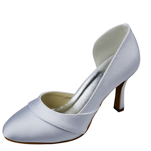 Evening GYAYL308 High Bridal Satin Closed Wedding Minitoo Heel Womens Party White 9cm Heel Toe Pumps Stiletto w4xt8tqp
