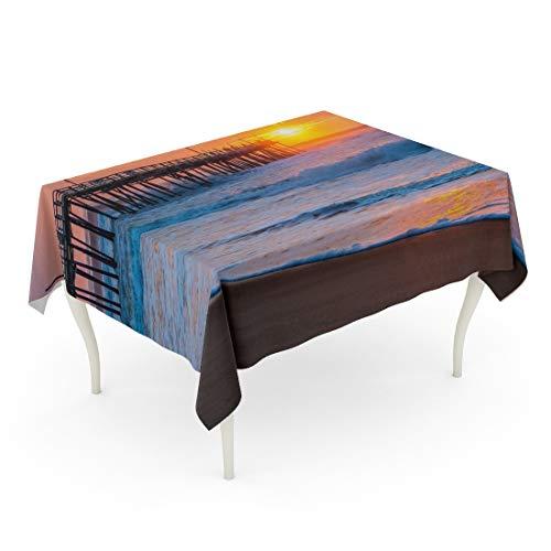 Tarolo Rectangle Tablecloth 60 x 102 Inch Orange Surf Serene Sunrise Over Fishing Pier at North Carolina Outer Banks Pink Atlantic Avon Table ()