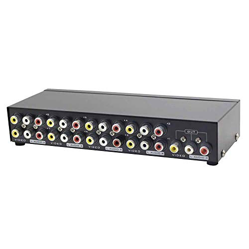 Panlong 8-Way AV Switch RCA Switcher 8 in 1 Out Composite Video L/R Audio Selector Box for DVD STB Game Consoles