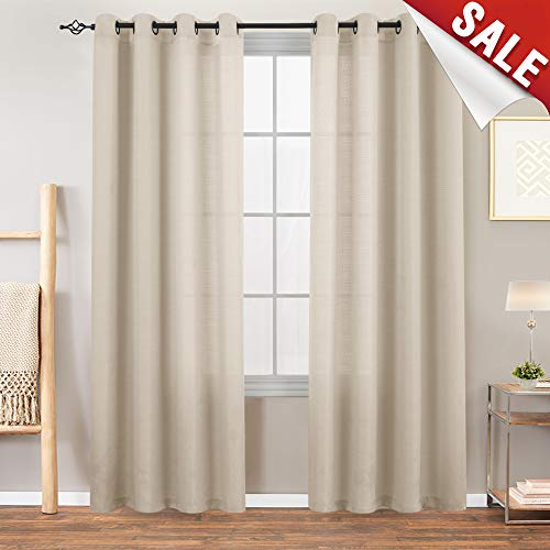 Semi Sheer Curtains for Living Room 84 inches Long Casual Weave Textured Privacy Heavy Sheer Window Curtain Panels for Bedroom 1 Pair, Beige (Panel Curtains Sheer Polyester)