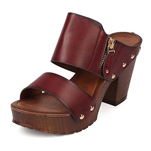 Holiday Sandals Womens (Women's Chunky Platform Heel Sandals Block High Heel Slide Studded Slip on Summer Holiday Shoes VT03 Wine 8.5)