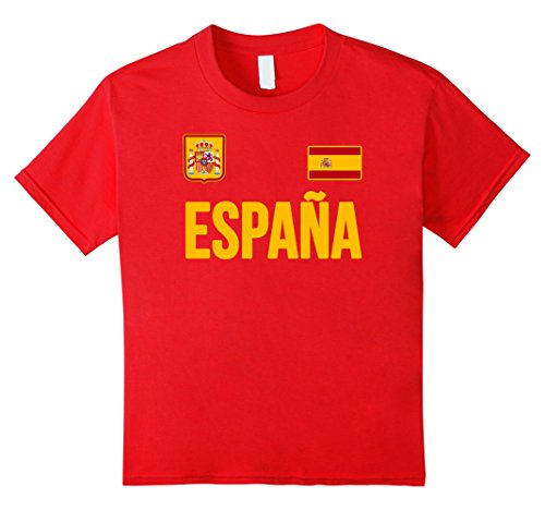 unisex-child Espana T-shirt Spanish Flag Spain Red Retro Soccer Style 12 Red