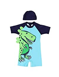 Children Swimsuit Boy One-Piece Swimsuit Sun Protective Diving Suit With Swimming Hat(L-Green)