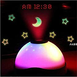 Projection Digital Alarm Clock, White Round Appearance with Stars and Moon Pattern Can Be Alarmed (Size : White)