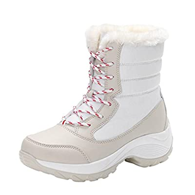 Anxinke Women's Winter Warm Outdoor High Top Snow Boots Artificial Leather Platform Ankle Boots