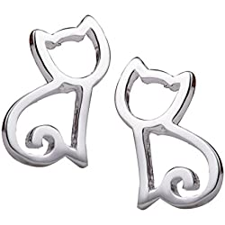 S.Leaf Tiny Hollow Out Cat Stud Earrings Cat Earrings Sterling Silver Earrings for Girls