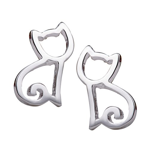 Solid Sterling Silver Cat (S.Leaf Tiny Hollow Out Cat Stud Earrings Cat Earrings Sterling Silver Earrings for Girls)