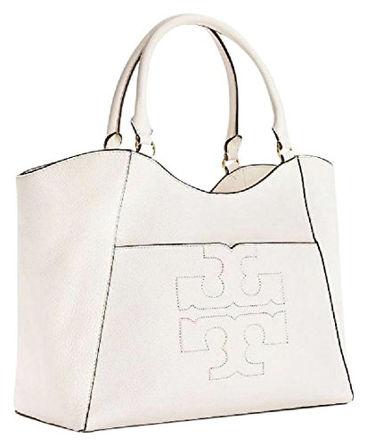 128df534808f Galleon - Tory Burch Bombe T Leather E W Tote Bag Women s Leather Handbag  (New Ivory)