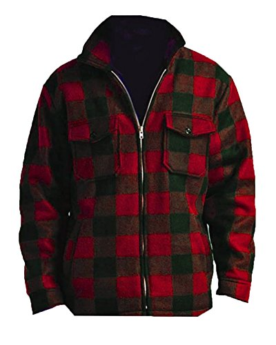 Woodland Supply Co. Men's Heavy Warm Fleece Sherpa Lined Zip Up Jacket,Small,Red Plaid