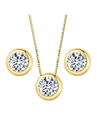 EleQueen 925 Sterling Silver 0.7 Carat Round CZ Bridal Necklace Earrings Jewelry Set Gold Plated