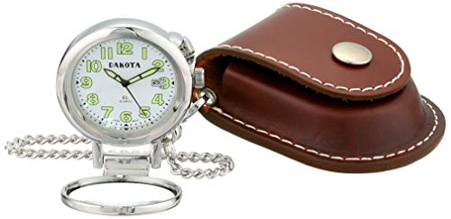 (Dakota Watch Company Leather Pouch Pocket Watch with Magnifying Lens)