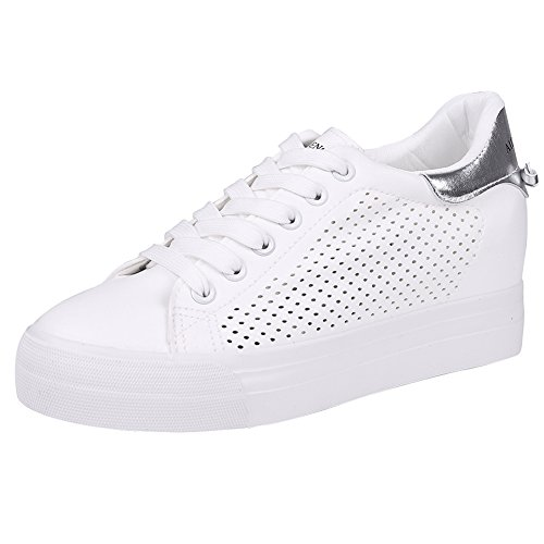 Lace Leather Sneakers Black Heel Hidden Casual Silver Shoes Flat Platform up Shoes White Fashion Women Buganda Wedges Top High qBHEXp