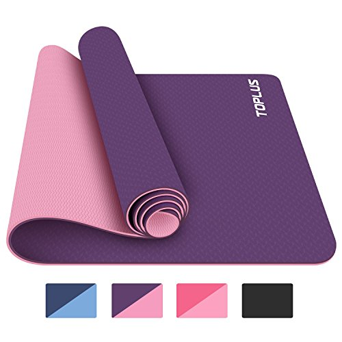 TOPLUS Yoga Mat, 1/4 inch Pro Yoga Mat TPE Eco Friendly Non Slip Fitness Exercise Mat with Carrying Strap-Workout Mat for Yoga, Pilates and Floor Exercises (deeppurple)