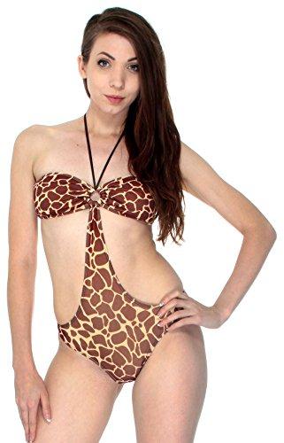 Sexy Giraffe Print Halter Neck w/ O Ring One Piece