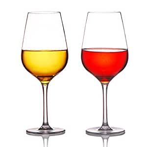 MICHLEY Unbreakable Wine Glasses, 100% Tritan Plastic Shatterproof Red Wine Glasses, BPA-free, Dishwasher-safe 18.5 oz, Set of 2