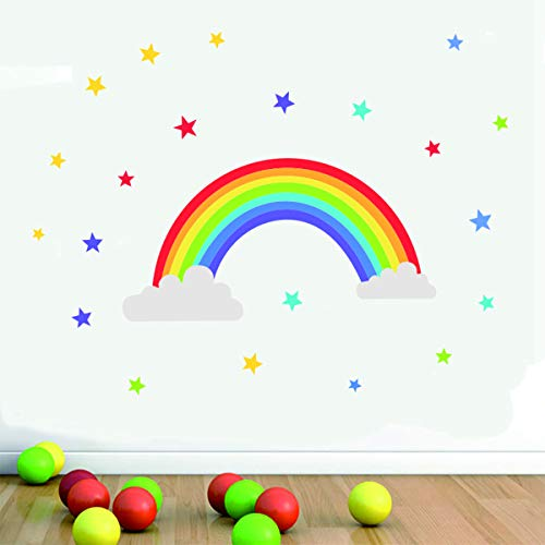 - Bamsod Wall Sticker Rainbow Wall Decal Art Girls Star Bedroom Nursery Home Decor