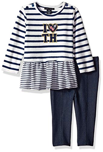 - Tommy Hilfiger Baby Girls 2 Pieces Tunic Pants Set, Blue/White, 6-9 Months
