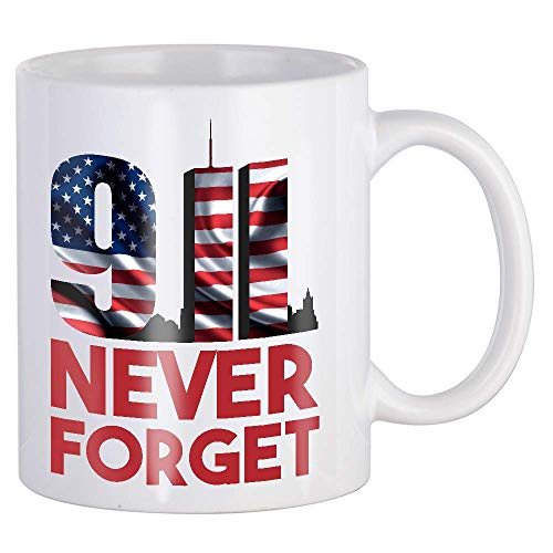 911 Never Forget Twin Towers American Flag Sep 11 2001 Patriotic 343 Firefighters Memorial Day Coffee Tea Mug Cup Black Ceramic 11oz