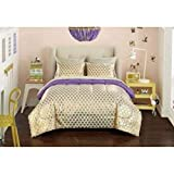 Purple and Gold Bedding Set Durable, Versatile and Trendy Your Zone Gold Hearts Reversible Bed in a Bag Bedding Set, Gold/Purple TwinXL