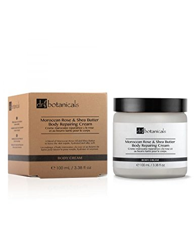 Dr Botanicals Vegan Moroccan Rose & Shea Butter Body Cream with Shea Butter and Apricot Kernel Oil - Anti Ageing Natural Vitamins Treatment to remove Wrinkles and Fine Lines - Made in UK - 100ml