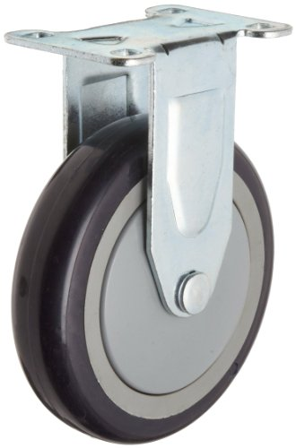 """RWM Casters VersaTrac 27 Series Plate Caster, Rigid, Thread Guard, TPR Rubber Wheel, Ball Bearing, 300 lbs Capacity, 5"""" Wheel Dia, 1-1/4"""" Wheel Width, 6-5/16"""" Mount Height, 3-3/4"""" Plate Length, 2-5/8"""" Plate Width from RWM Casters"""