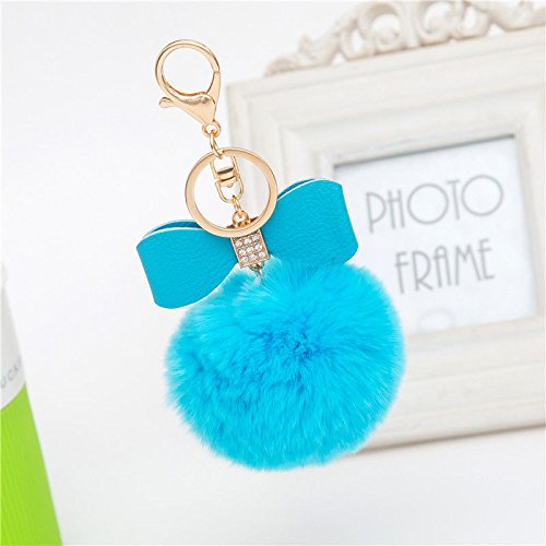 [Say's Headband - Rabbit Fur Fluffy Puff Ball Bow PomPom Charm Car Handbag Key Chain Ring / Blue] (Costume Design For Rabbit Hole)