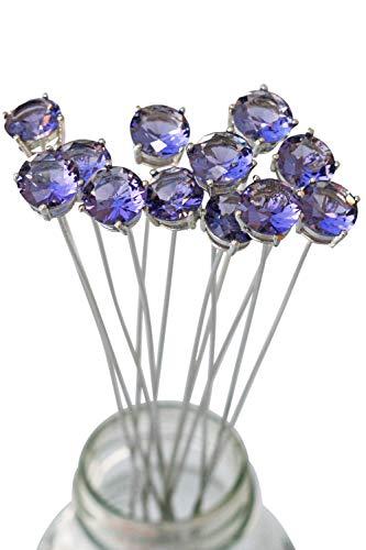(Wedding Bouquets for Bride Amethyst Jewels | Wedding Cake Decorations | Pack of 12 (Amethyst Purple CZ Diamond))