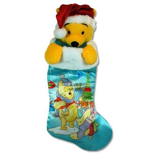 (Pooh 18 Satin Stocking Fully Printed with Plush Head Hanger)